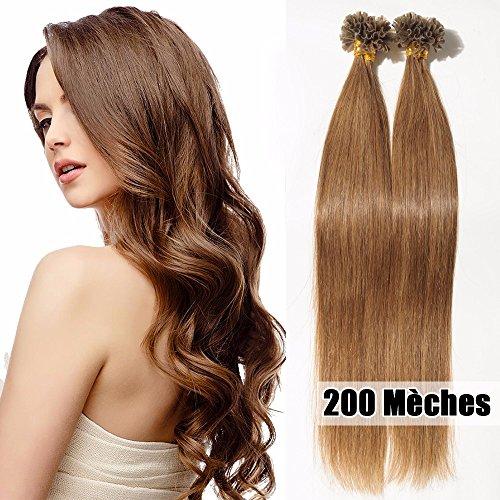 S-noilite® Extensiones de queratina de pelo natural - 45CM - 200 mechas (0.5g/mecha) - Pre bonded Nail Tip U-tip Remy Hair Extensions - #06 Marrón claro
