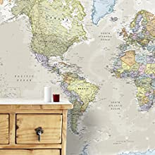 Giant World Map Mural – Mega-Map Of The World – Classic Tones - 232 x 158