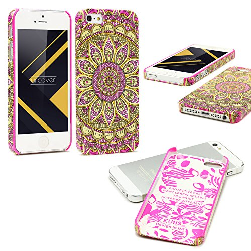Urcover® Apple iPhone SE / 5 / 5s Schutzhülle mit Mandal-Design in Orange Colorful Mandala Backcase Cover Smartphone Zubehör TPU Schale Pink