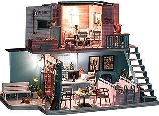 Godbless Puppenhaus 1 Stück DIY puppenhaus mit Licht Wünderschön gestaltetes Modell Kreativ Geburtstag Weihnachts Geschenk (Rosa Kaffeehaus)