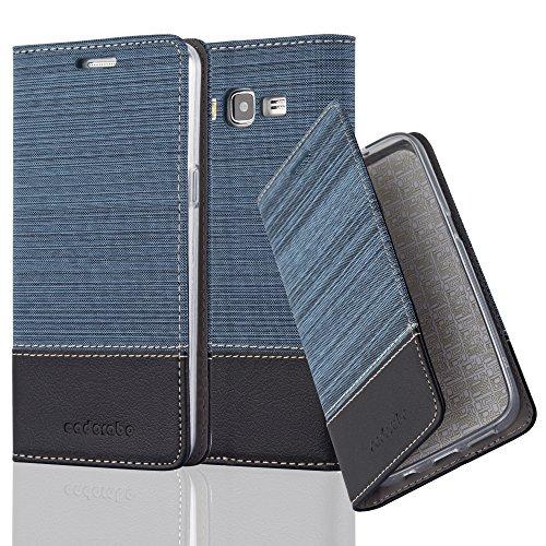 Cadorabo Funda Libro para Samsung Galaxy Grand Prime en Azul Oscuro Negro - Cubierta Proteccíon con Cierre Magnético, Tarjetero y Función de Suporte - Etui Case Cover Carcasa