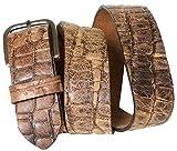 Fronhofer Krokodilleder Gürtel 4 cm mit rechteckiger Gürtelschnalle, Kroko Gürtel, Druckknopf, Wechselgürtel, Größe:Bundweite 110 cm, Farbe:Braun