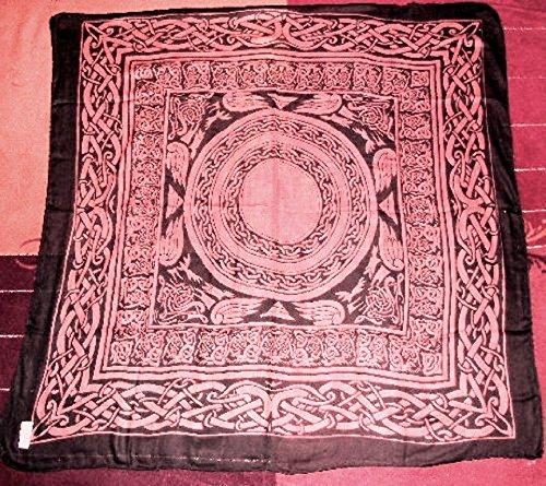 Keltisches Tarot Tuch Baumwolle, Wicca-Design Orange Farbe (Kristallkugeln Wahrsagen)