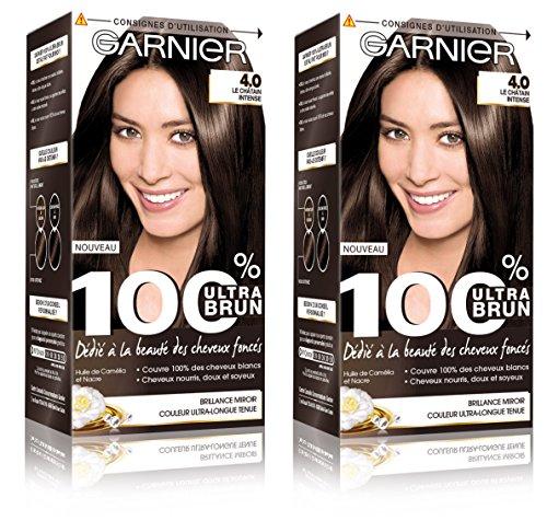 Garnier - 100% Ultra Brun - Coloration Permanente Châtain - Le Châtain Intense 4.0 Lot de 2