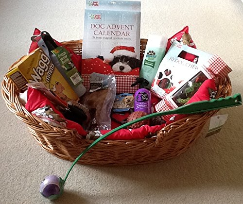 Christmas Deluxe dog wicker bed Hamper with cushion & loads of goodies perfect gift for that very special Pet
