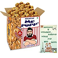 BOGATCHI Mr.POPP's Caramel Popcorn, 100% Crunchy HandCrafted Gourmet Popcorn Snacks | NO Microwave needed | Best Movie / TV Time Snack, Best Anniversary Gift for friends , 250g + FREE Happy Anniversary Greeting Card