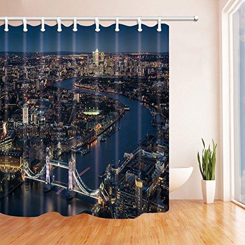 nyngei 3D Digital Druck London Decor Skyline London Bridge Nacht Szene Polyester-Duschvorhänge-Wasserdicht Bad Vorhang 179,8x 179,8cm Duschvorhang Haken im Lieferumfang enthalten - Runde Rod Druck-vorhang