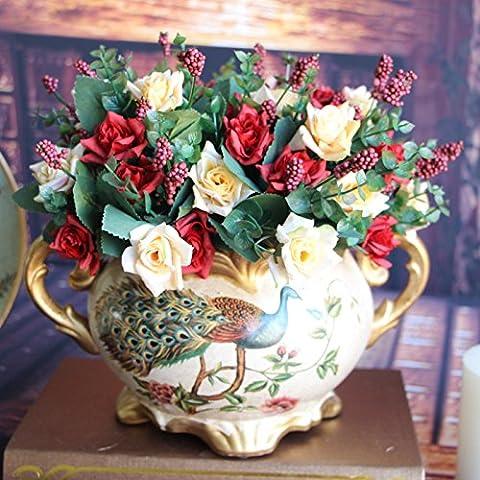 Calcifer 3Sets (10tallos/Set) pequeñas rosas ramo de flores artificiales para decoración del hogar/decoración de boda, Rojo, Quantity: 10 pcs