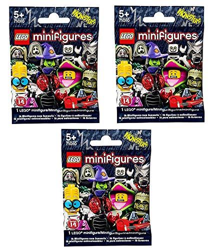 Lego Minifiguren, Serie 14,71010 Lego Series 14 Blind Bag x 3 (Lego Serie Minifiguren 14 Halloween)