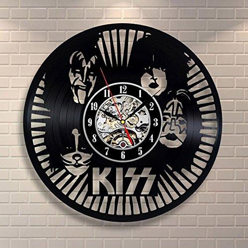Luziang Orologio da parete in vinile Kiss rock banda pegamento negro reloj registro creativo regalo vinilo reloj de pared de arteDimensioni: 30cm, adatto per: soggiorno, camera da letto, studio, ufficio, ecc.