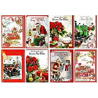 8 Assorted Across The Miles at Christmas Cards and Envelopes. Robins, Teddies, Wreaths, etc