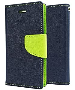SCHOFIC Premium Fancy Wallet Diary Faux Leather Mobile Flip Case Cover [Pouch] with Card Slots [POCKETS] , Stand View and Magnetic Strap [LOCKING] for Samsung Galaxy Young 2 SM -G130 -Navy Blue