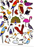 Vogel Eule Uhu Papagei Flamingo Adler Aufkleber 29-teilig 1 Blatt 135 mm x 100 mm Sticker Basteln Kinder Party Metallic-Look