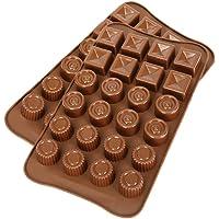 Lot de 2 moules en silicone pour chocolat, CNYMANY antiadhésif Poêles de cuisine Pâtisserie Glaçons 3 formes dans un…