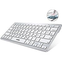 VicTsing Bluetooth Tastatur Kabellos, Metallplatte tragbar/Ultra-dünn Bluetooth3.0 Wireless Keyboard, Deutsche Layout, Multimediatasten, ON/Off-Schalter für iOS, Android, Windows, Laptop, Silber