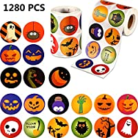 Outus 1280 Pieces Halloween Stickers Assorted Halloween Cute Stickers Small Pumpkin Stickers Roll Sticker Decorations for Halloween Party Favors,25 Designs