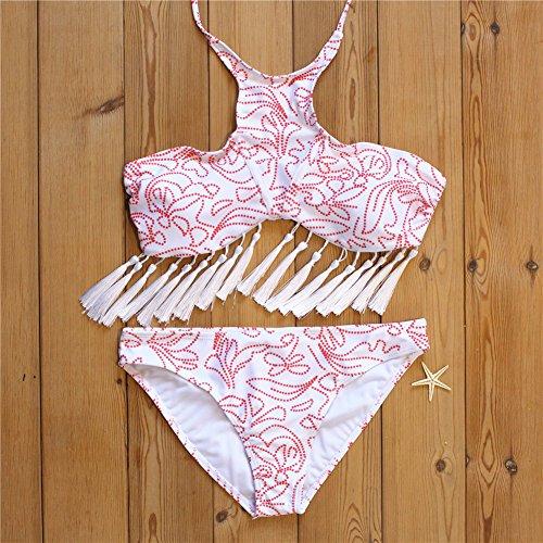 Arrowhunt Damen Mädchen Zweiteilige Neckholder Quaste Blumen Push Up Bikini Set Schwimmanzug Rosa