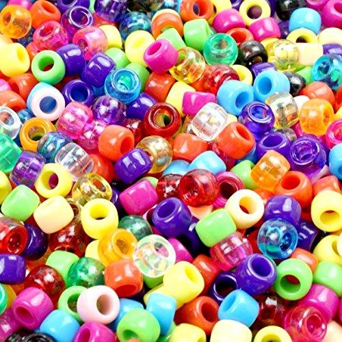 Lnvision 1000 Stück Pony Beads 6x8mm Bunte transparent Kunststoff Barrel Pony Perlen Bastelperlen sortierte mischfarbige Perlen für DIY Schmuck Herstellung -