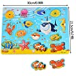 Yikky Magnetic Wooden Fishing Game and Puzzle With Wooden Ocean Animal Magnets (14 PCS) for for age 3 4 5 Year Old Kid Children as Magnetic Bath Fishing Travel Table Game, Birthday Gift Toy