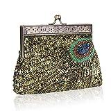 MORER Damen Clutch mit Perlen, Pailletten für Abendveranstaltungen, Party, Hochzeit, Geldbörse,...