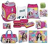 Disney Soy Luna Schulrucksack 18tlg. Set Scooli Twixter Up Schulranzen mit Sporttasche Regen/Sicherheitshülle gelb SORN7551