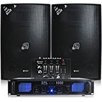2x Skytec 12 Inch Speakers, Amplifier, Mixer + Cables 1200W