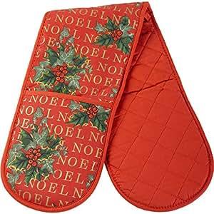 Noel Christmas Holly & Manique Double Festive Gants de cuisine résistants à la chaleur (8 x 34 cm