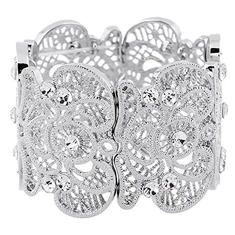 Forever & Moment Vintage Metal Filigree Stretch Bangle Bracelet Pour Femmes 20 cm(Argent)