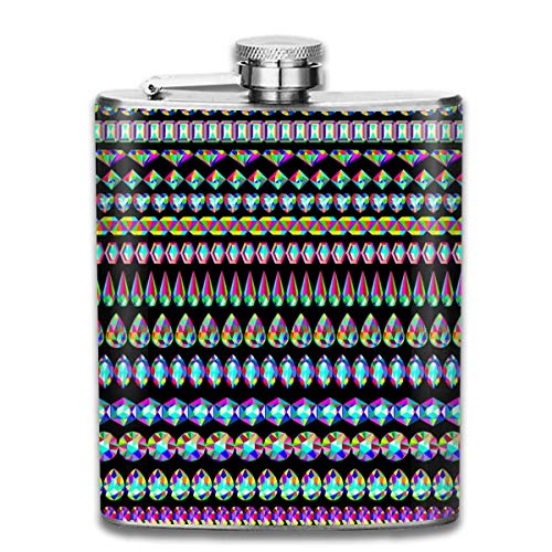Miedhki Colorful Diamond Lace Outdoor Portable 304 Stainless Steel Leak-Proof Alcohol Whiskey Liquor Wine 7OZ Pot Hip Flask Travel Camping Flagon for Man Woman Flask Great Little Gift