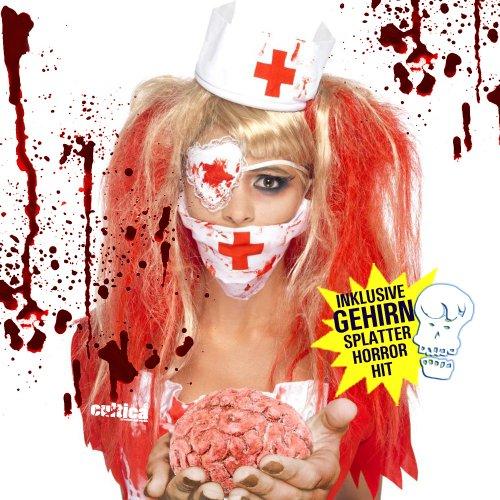 Zombie Krankenschwester mit Gehirn in Händen Untote Klinik Schlachterin Kostüm Set bestehend aus blutiger Haube, Augenbinde und Mundschutz inklusive Gehirn Halloween Party Hammer Leichen Monster Frauen Accessoires Horror Show Party Spaß Gruselmonster