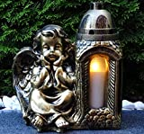 ♥ Grablaterne Grablampe Engel Massiv 30,0cm Bronze incl. Grablicht Grabkerze Grabschmuck Grabdekoration Grablicht Laterne Lampe Kerze Schutzengel