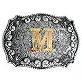 Bai You Mei Classico Western Lettere Maiuscole Placcatura Oro Metallo Cowboy Fibbie Per Cinture Uomo Fibbie Per Cinture M