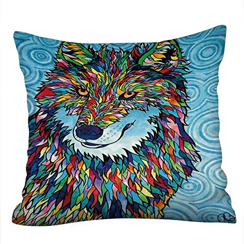 Kaiki Dekorativ Kissenbezug 43 x 43 cm, Mode Wolf Buntes gemaltes Tier Kissenbezüge Dekokissen Kissenhülle Set Kissen Fall für Sofa Auto Schlafzimmer Zuhause Dekor (43x43cm, A)