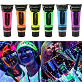 #3: Smartcraft Face Colour Paint (Pack of 6) ,UV Blacklight Reactive Glow In Dark Face and Body Paint , Set of 6 Tubes Neon Fluorescent , 25 ml each tube
