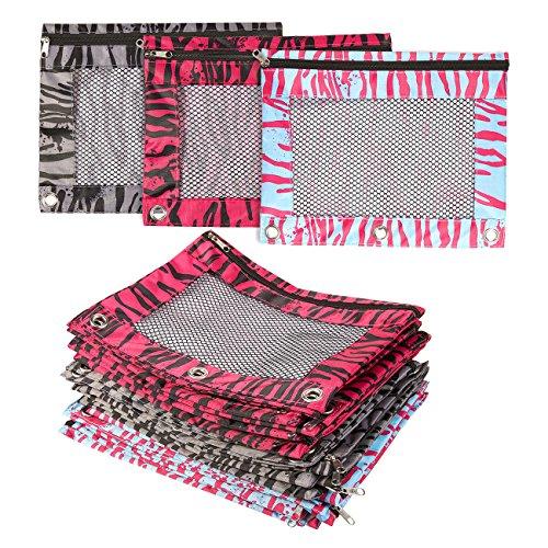 Set di 24sacchetti–Matita matita borsa, astuccio con cerniera, motivo zebrato, borsa per accessori di cancelleria, cosmetici, documenti, Daily Essentials, nero, blu, rosa colori–24,6x 19,1cm