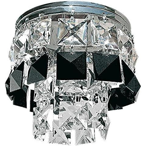 Gumarcris 1576NE - Foco empotrable con colgantes de cristal tallado , color negro y cromo
