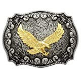F & F Fashion Western Antik Silber Gravur Blume Gold Bird of Prey 3D Eagle Gürtelschnalle