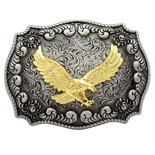 F & F Fashion Western Antik Silber Gravur Blume Gold Bird of Prey 3D Eagle Gürtelschnalle (Gürtelschnallen Native American)
