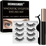 Magnetic Eyelashes, Magnetic Eyeliner, Magnetic Eyeliner and Lashes Kit,4 pairs of false eyelashes with Eyelash Tweezer