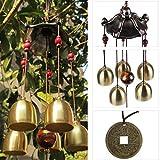 petsola Verschiedene Metall/Holz Rohr Windspiel Haus Garten Outdoor Feng Shui Dekor - Pavillon, 50cm