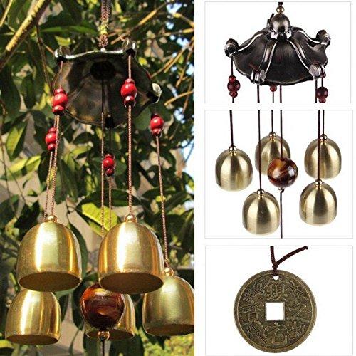FLAMEER Big Bells/Tubes Glücksglocken Oriental Wind Chime Outdoor Garden Hanging Decor - Pavillon, 50cm