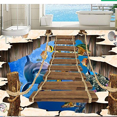 Foto de Lqwx Pisos 3d gran mundo submarino excavaron delfín bambú pintura exterior pintura tridimensional suelos 3d-300cmX210cm