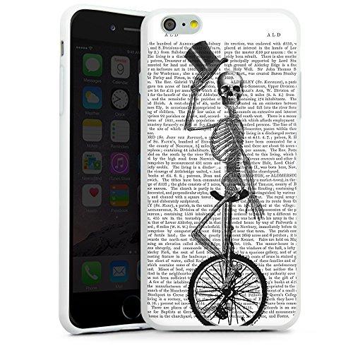 """artboxONE Handyhülle Apple iPhone 6s, schwarz Hard-Case Handyhülle """"Tod fährt Einrad Case"""" - Tiere - Smartphone Case mit Kunstdruck hochwertiges Handycover von FabFunky Silikon Case weiß"""
