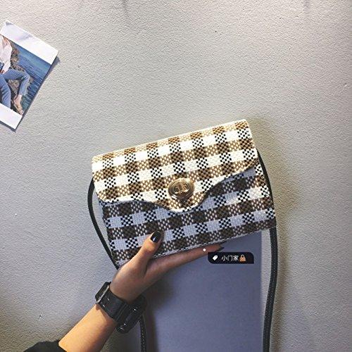 Pacchetto LiZhen femmina coreano nuovo stile Harajuku sub-pacchetto a mano elegante e versatile venti locali spalla un Algebra lineare pacchetto, la piccola griglia rossa A scacchi marrone