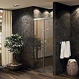 EKU-BANIO 40GF Duschbeschlag mit eloxierter Alu Laufschiene 1500 mm (OHNE Glas!) für die Nische Duschtürbeschlag Glastürbeschlag Duschschiebetür von SO-TECH®