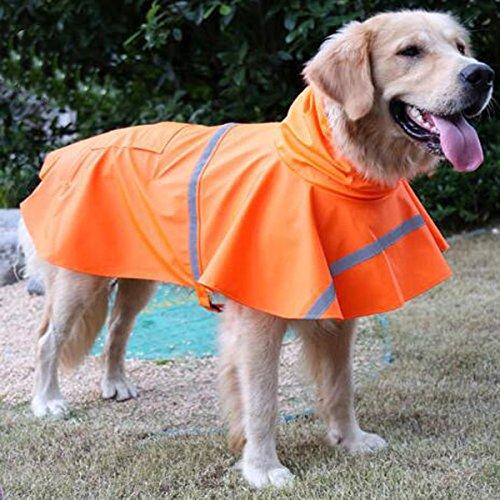 Ltuotu - Giacca-cappotto impermeabile per cani, con cappuccio, dimensione regolabile, riflettente, ottima anche per cuccioli o gatti, arancione, M