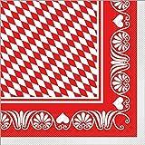 Sovie HORECA Servietten aus Tissue Bavaria 33x33 cm / Einweg Servietten aus Tissue für Oktoberfest und Wiesn Party / 100 Stück (Rot)