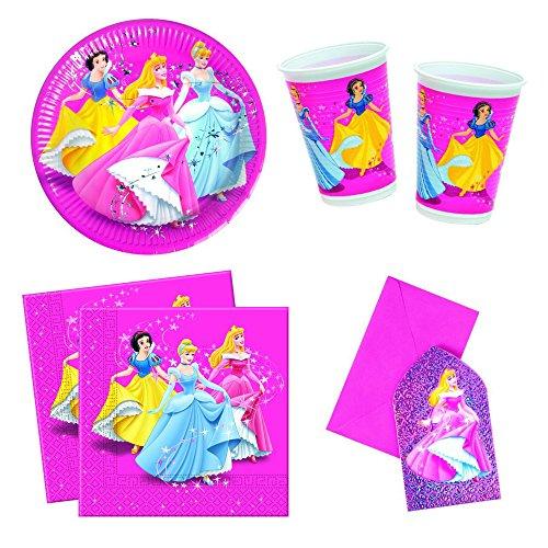 s Disney Prinzessinnen Prismatisch Party-Set inkl. Pappteller, Kunststoffbecher, Papierservietten und Einladungskarten ()