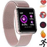 Bluetooth Smartwatch, Fitness Uhr Intelligente Armbanduhr Fitness Tracker Smart Watch Sport Uhr mit Kamera Schrittzähler Schlaftracker Romte Capture Kompatibel mit Android Smartphone (P68 Roségold)