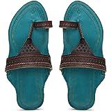 KALAPURI� Ladies Kolhapuri Chappal in Genuine Leather with Blue Pointed Shape Base and Brown Broad V-Shaped Upper. Handmade i